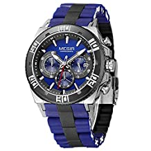 Fanmis Men's Outdoor Blue Silicone Band Chronograph Calendar Waterproof Quartz Wrist Watches Black