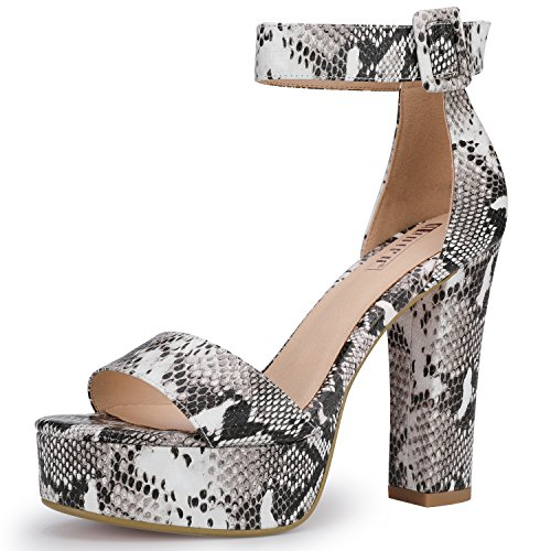IDIFU Women's IN5 Sabrina Ankle Strap Platform High Chunky Heels Party Sandal (Snake White, 10 B(M) US) (Animal Print Platform)