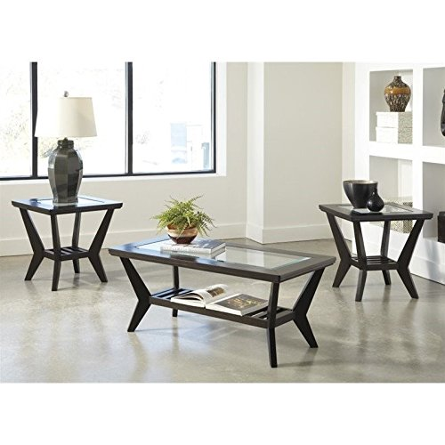 Ashley Furniture Signature Design - Lanquist Occasional Table Set - Glass Tops and Open Slat Shelves - Contemporary - Set of 3 - (3 Piece Glass Top Table)
