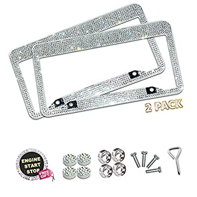 Lord Eagle License Plate Frame, 2 Pack Rhinestone License Plate Frames with GiftBox and 7 Shiny Crystal Rows,Over 1050pcs 14 Facets SS16 Finest Handcrafted Bling White Rhinestone: Automotive