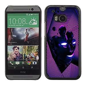 iBinBang / Funda Carcasa Cover Skin Case - Vibrante Purple Líneas Cara Energía Moderna - HTC One M8