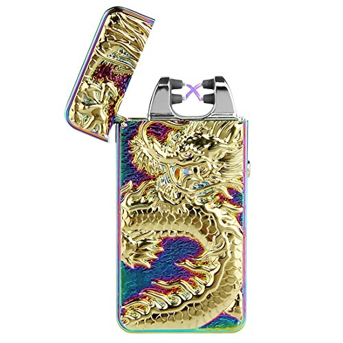 Cigarette Lighter, Pard Dragon Windproof Cross Arc Lighter, USB Rechargeable Flameless Arc Cigarette Lighter, Colorful ()