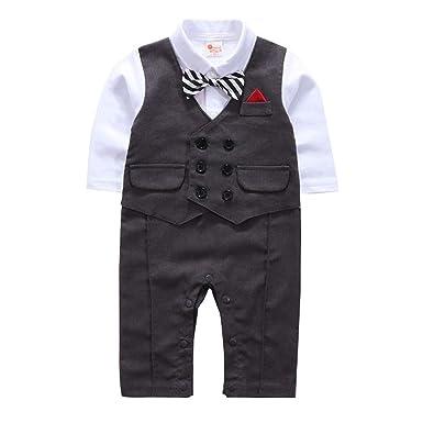 ed60ef9e19b1 Amazon.com: SSZZoo Toddler Baby Boy Wedding Suit Cloth Sets Bowtie Gentleman  Vest T-Shirt Pants Fake Vest Stripes: Clothing