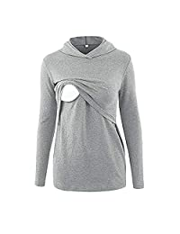 liliko Women Cowl Neck Double Layered Nursing Sweatshirts Breastfeeding