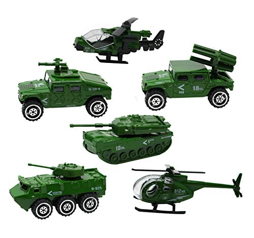 Smart Novelty Die-cast Army Vehicles Toy Set of 6 - Assorted Metal Vehicles Mini Army Helicopter, Jeep, Panzer, Tank, Diecast Military Playset for Kids