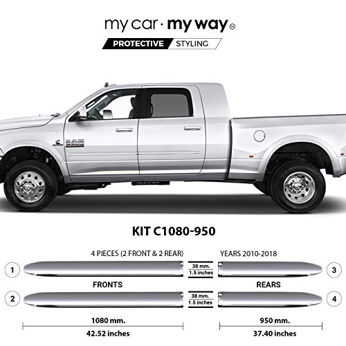 My Car My Way (Fits Ram 2500-3500 2010-2018 6.33′ Box Mega Chrome Body Side Molding Door Guard Moulding Cover Trim Door Protector