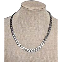 Adecco LLC Ultra Luxury Look & Feel Real Solid 14k Silver plated Curb Chain Necklace 10mm (Silver 20inch)