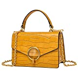 PIJUSHI Crocodile Crossbody Shoulder Handbag For Women Fashion Small Top Handle Satchel Bags ?J40 Yellow?