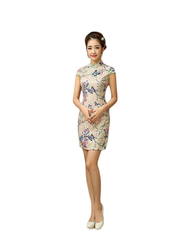 EXCELLANYARD Women's Lace Qipao Cheongsam Chinese Dress