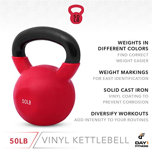 Day 1 Fitness Kettlebell Weights Vinyl Coated Iron 50 Pounds - Coated for Floor and Equipment Protection, Noise Reduction - Free Weights for Ballistic, Core, Weight Training by Day 1 Fitness (Image #4)