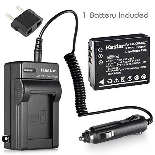 Kastar Li-Ion Battery + Charger for Panasonic LUMIX DMC-TZ1 DMC-TZ2 DMC-TZ3 DMC-TZ4 DMC-TZ5 CGA-S007 CGA-S007A + Car Plug