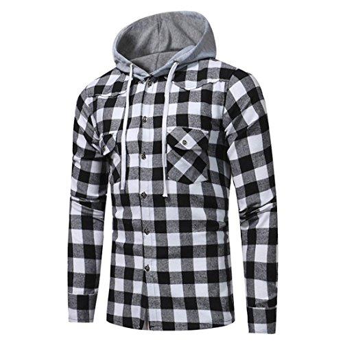 Autumn Men Long Sleeve Thin Lattice Printed Plaid Hoodie Hooded Sweatshirt Outdoor Tops Blouse Colorblock (Black, XL) by Sinzelimin