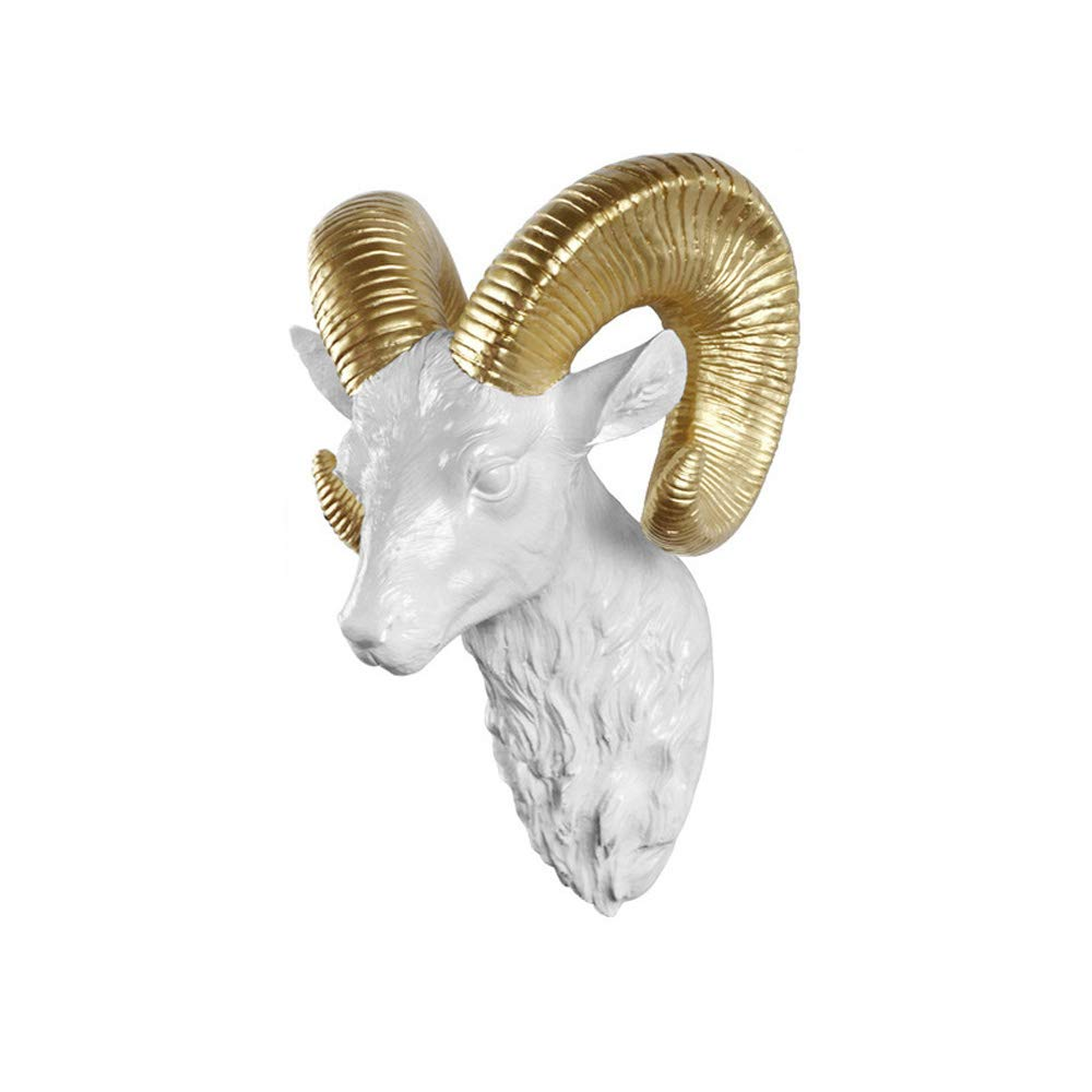 DDSS Home Decoration Wall Decoration - European Animal Deer Head Elephant Hanging Stereo Creative Livingroom Mural Home Wall Background for Decoration Resin Craft /-/ (Color : D)
