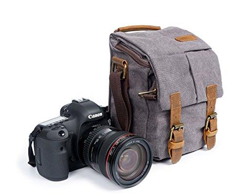 Waterproof Canvas Leather Trim DSLR SLR Shockproof Camera Shoulder Messenger Bag (Grey) (Bag Camera Gray)