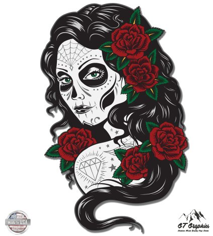 Day of the Dead Beautiful Lady Roses Mask - 5