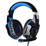 Mercu G2000 Stereo Gaming Headset for PS4, Noise Cancelling Bass Over-Ear Headphones with Mic and LED Lights for Laptop, PC, Computer, Smartphones (Blue)