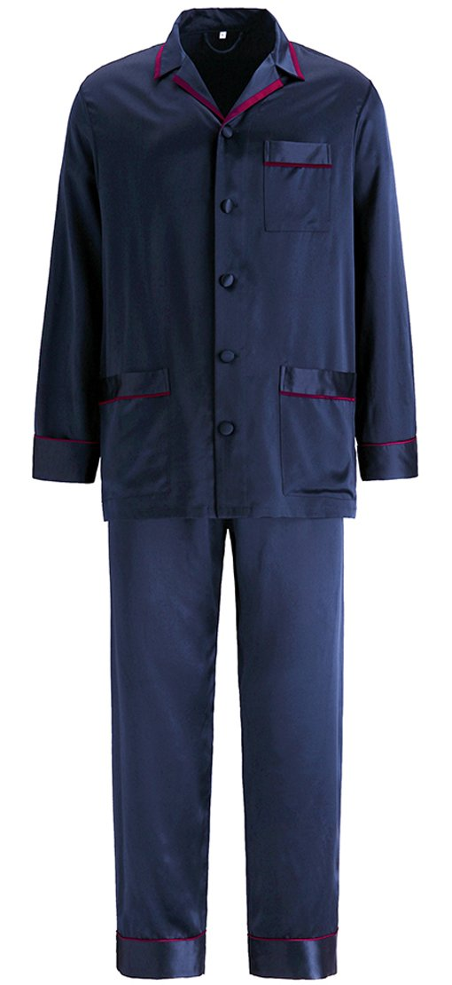 LilySilk Silk Pajamas Set For Men Summer 22 Momme Most Comfortable Sleepwear Navy Blue L