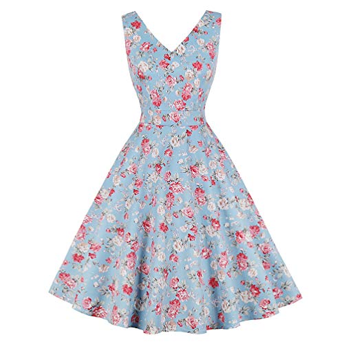 LaceLady BoatNeck Vintage Sleeveless Tea Dress with Belt Pleated Swing Party Floral09 S (Jersey Boatneck Dress)