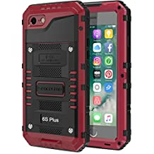 iPhone 6S Plus Waterproof Case, Seacosmo Full Body Protective Shell with Built-in Screen Protector Military Grade Rugged Heavy Duty Case Cover for iPhone 6 Plus, Red