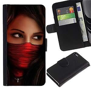 LASTONE PHONE CASE / Lujo Billetera de Cuero Caso del tirón Titular de la tarjeta Flip Carcasa Funda para Apple Iphone 4 / 4S / Woman Red Agent Babe