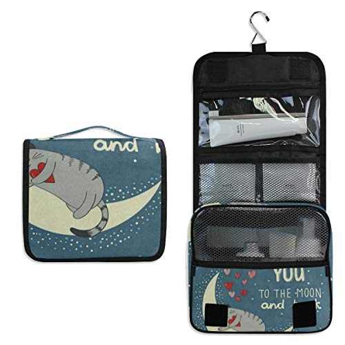 Hanging Toiletry Bag Cute Cat Kitten Heart Love You To The Moon And Back Travel Organizer for Makeup and Toiletries for Men Women,Hang Case for Cosmetics and Toilet Accessories with Metal Swivel Hook