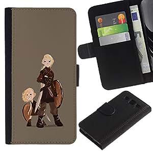 A-type (Vikingos Shield Warrior Woman Art Muchacho rubio) Colorida Impresión Funda Cuero Monedero Caja Bolsa Cubierta Caja Piel Card Slots Para Samsung Galaxy S3 III i9300 i747