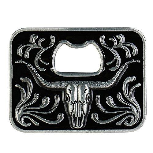 Beer Opener Belt Buckle -Long Horn Bull Black Vintage Pattern Western Cowboy Large (Beer Belt Buckle Bottle Opener)