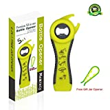 Maxracy Premium All-in-one Bottle Can Lid Twist Gripper Ideal for Seniors Arthritis Suffers and Weak Hands with Free Jar Opener, Green