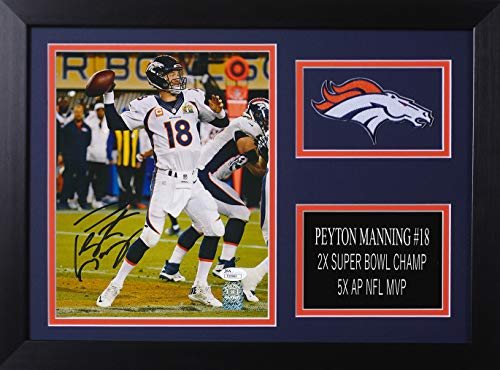 Peyton Manning Autographed Broncos Photo - Beautifully Matted and Framed - Hand Signed By Peyton Manning and Certified Authentic by JSA - Includes Certificate of Authenticity - Deisgn 8A