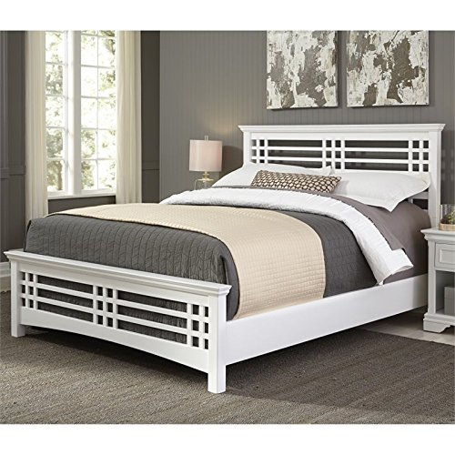 Mission Style Headboard - Fashion Bed Group Avery Complete Wood Bed and Bedding Support System with Mission Style Design, Cottage White Finish, Queen
