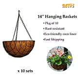 MTB Garden Hanging Baskets 14'' - Vintage Geo with Coco-liner, Pack of 10 (Also Sold as Pack of 2), Black Metal Round Flower Pots Hanging Plant Holder Growers for Home Balcony Decoration
