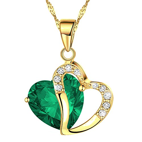 KATGI Fashion Austrian Crystals Heart Shape Pendant Necklace (Gold Plated Forest Green)