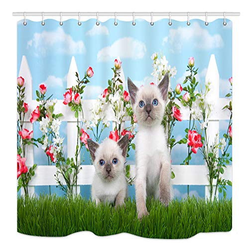 Cut Cat Shower Curtain, Two Kittens Sitting in Long Grass on White Picket Fence of Pink Roses Flowers, Fabric Bathroom Decor Bath Curtains Accessories, with Hooks, 69X70 Inches ()