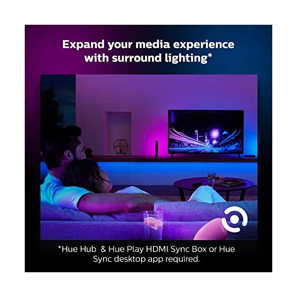Philips Hue Bluetooth Smart Lightstrip Plus 2m/6ft Base Kit with Plug, (Voice Compatible with Amazon Alexa, Apple… 4