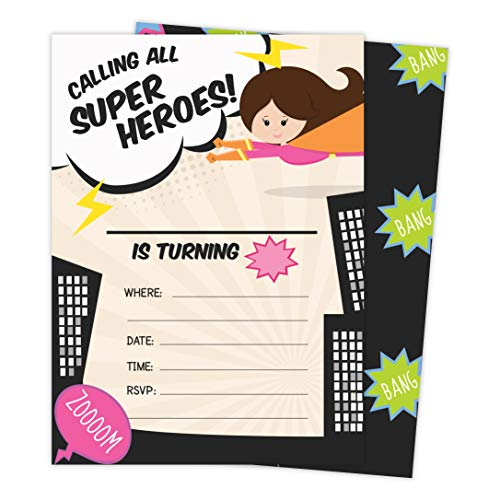 Superhero Girl 1 Happy Birthday Invitations Invite Cards (25 Count) With Envelopes and Seal Stickers Vinyl Girls Kids Party (25ct)]()