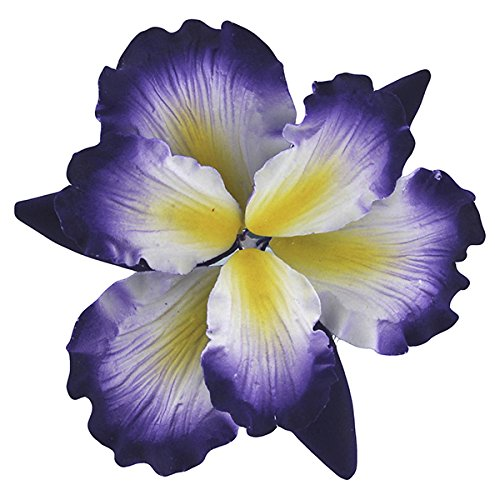 Global Sugar Art Dutch Iris Sugar Flowers Purple with Yellow Center, 9 Count by Chef Alan Tetreault