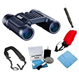 Bushnell H2O 10x25 Compact Foldable Binocular in Black + Focus Foam Float Strap Red + Accessory Kit