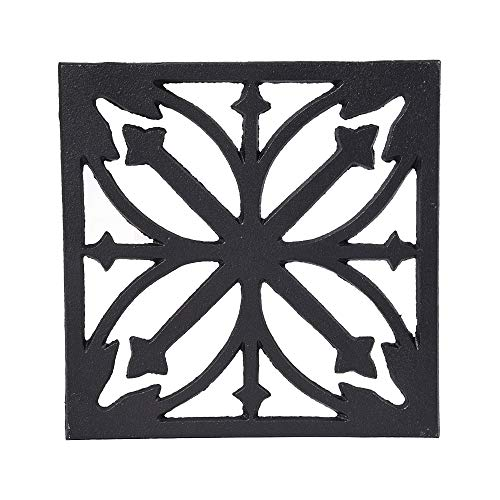 Sungmor Heavy Duty Cast Iron Square Metal Trivet,Rustproof Black Racks Stands Holders for Hot Pans or Teapot,Kitchen or Dinning Table Decorations