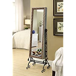 Mirrored Jewelry Cabinet Armoire Organizer W Stand Tilting Mirror Bins Drawers Hooks And Bars