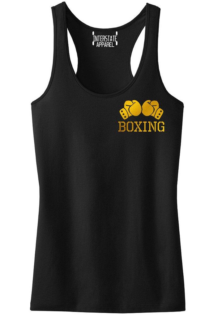 Interstate Apparel Inc Junior's Gold Boxing Gloves Chest V434 Black Racerback Tank Top T-Shirt Large Black