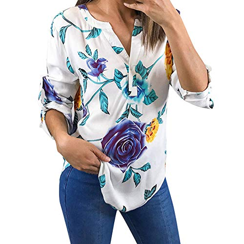 (Blouse V Neck Knot Front Short Sleeve Ladies Floral Printing Half Sleeve T-Shirt Irregular Tops Blouse Women (L,8- White))