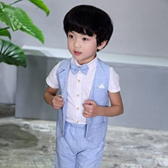 4 pcs Toddler Boys Suits Summer Wedding Cotton/Linen Blend Kids Vest Short Set