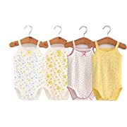 Unisex-Baby Sleeveless Onesies Tank Top Cotton Baby Bodysuit 4-Pack of Cardigan Onesie for Infants