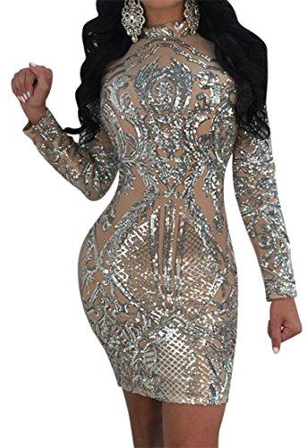 Manches Longues Femmes Cromoncent Sexy Paillettes D'argent Robe Moulante Club Transparent