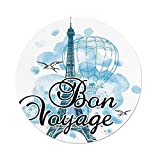iPrint Polyester Round Tablecloth,Going Away Party Decorations,Eiffel Tower Air Balloon Watercolor Bon Voyage Bird,Light Blue Black Blue,Dining Room Kitchen Picnic Table Cloth Cover Outdoor Indoor