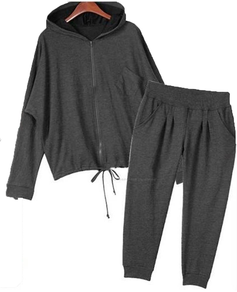 Hoodie Black Track Suit Sport Outfit Woman Jacket Pants LS003 size0x