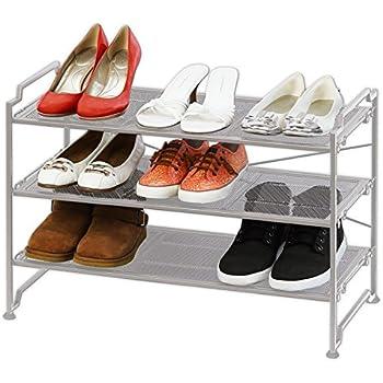 3 tier stackable shoe shelves utility storage rack closet organizer silver
