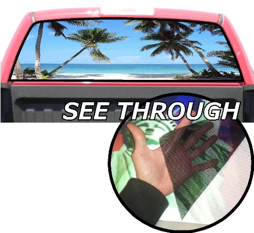 P42 Palm Trees Beach Tint Rear Window Decal Wrap Graphic Perforated See Through Universal Size 65