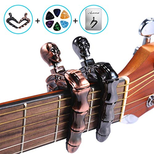 Asmuse DELUXE SKULL CAPOS for Electric and Acoustic Guitars - 2 Packs with 6 Plectrums and Metal Box(Bronze&Metallic) ()