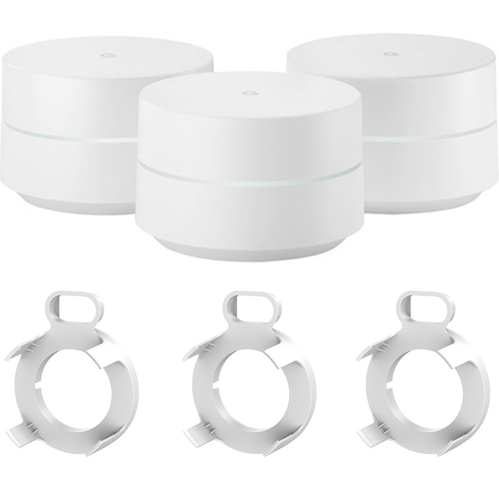 Google Wi-Fi 3-Pack (GA00158-US) with 3X Deco Gear WiFi Outlet Wall Mount White by Google